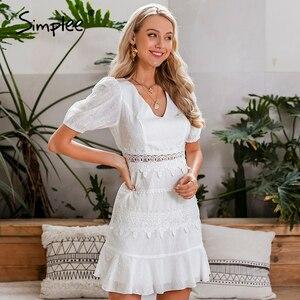 Image 1 - Simplee נשים הולו מתוך לבן שמלת פאף שרוול פרע v צוואר bodycon שמלת כפתורים מזדמנים חוף עבודת מסיבת רטרו קיץ שמלה