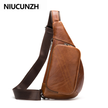 NIUCUNZH Genuine Leather Messenger Bag Men Leather Shoulder Bags Man Male Chest Pack Sling / Crossbody Bags for Men qibolu genuine leather mens sling bag single shoulder bag men chest pack messenger crossbody bag for man bolsas masculina mba37