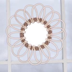 Handmade Homestay Craft Decorative Mirror Wall Decoration Wall Hanging Handmade Rattan Mirror European Style Hanging Mirror