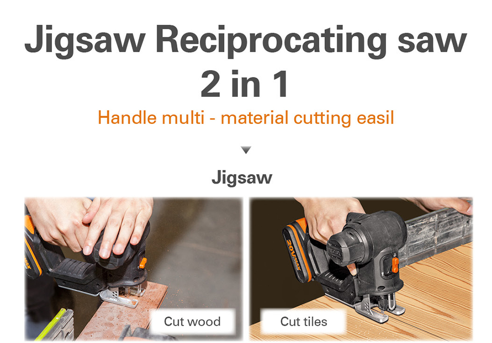 2 in use of Worx Electric Saw