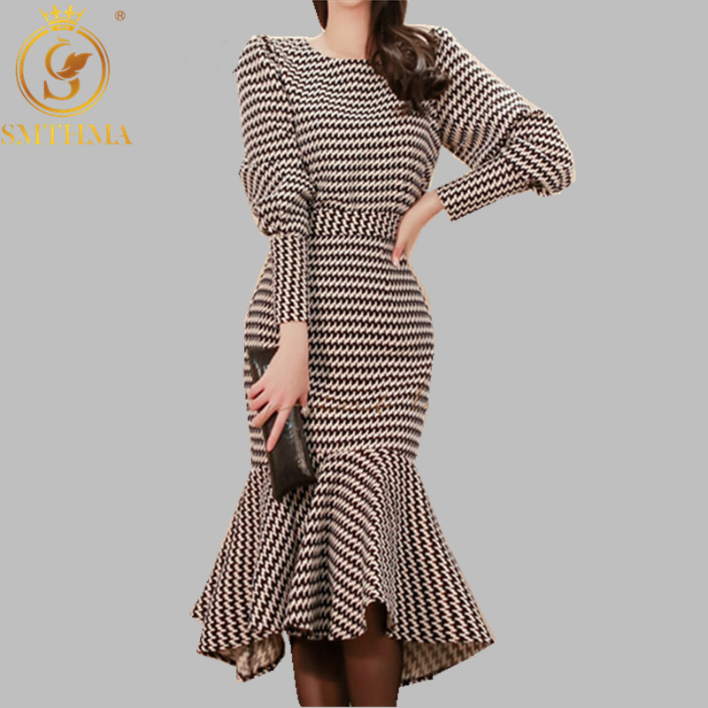 SMTHMA Winter New Two-piece Sets Korean Temperament Slim Houndstooth Top+ Sexy Fishtail Skirt Suit