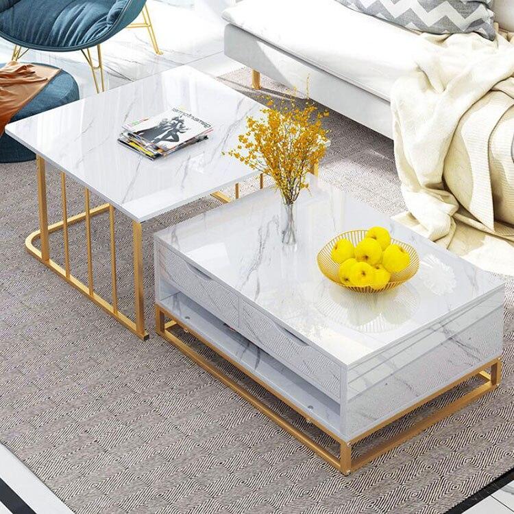 Table basse combinée en bois 2 en 1 pour salon-Table à thé avec tiroirs