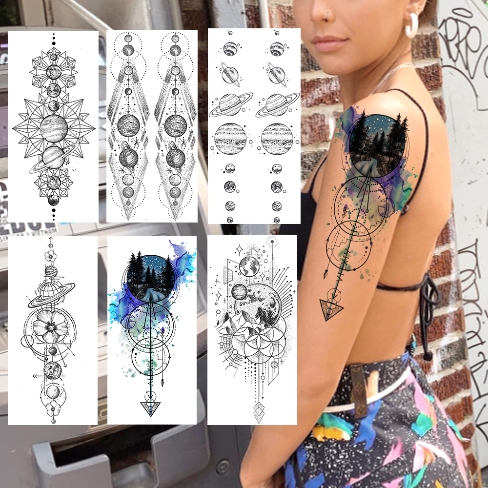 Creative Anchor Tattoos Sticker Realistic Fake Galaxy Planets String Waterproof Temporary Tattoos For Women Men Body Art Tatoos