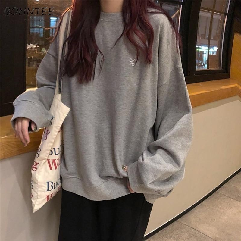 Hoodies Women Loose Solid Simple All-match Pullover O-Neck Harajuku Hoodie Streetwear Womens Sweatshirts Chic Leisure Ulzzang