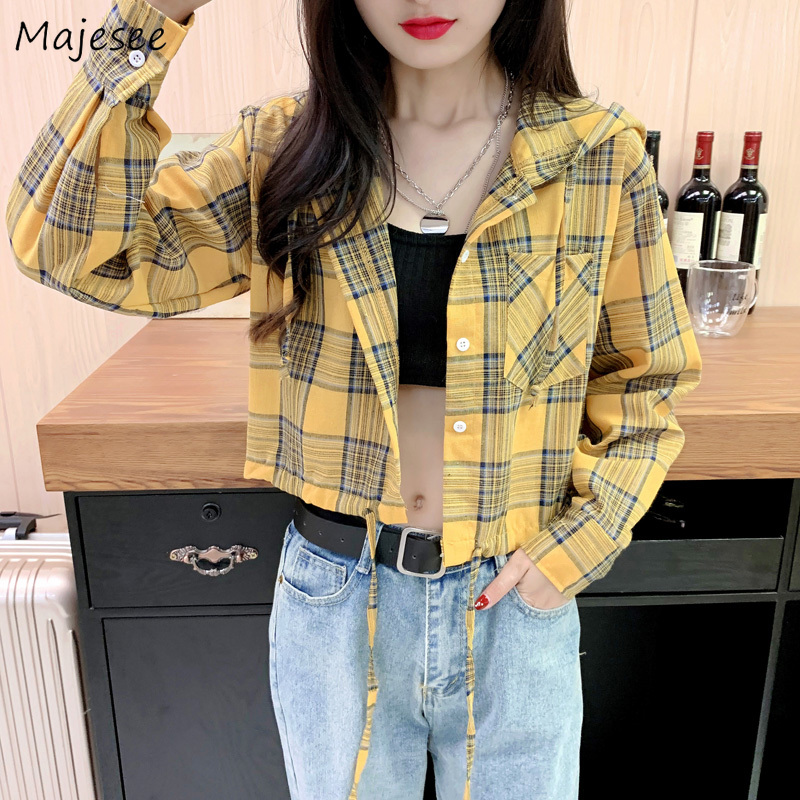 Shirts Women Short Hooded Plaid Single Breasted Sweet Candy Color Girl Harajuku Korean Style All-match Womens Shirt Chic Leisure
