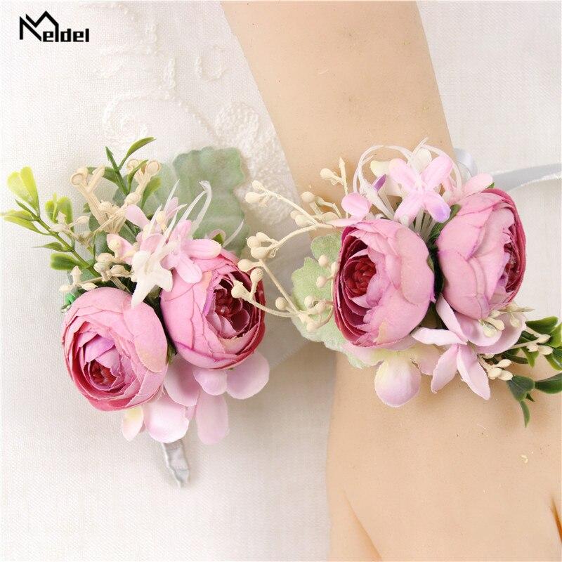 Meldel Bride Wrist Corsage Rose Bud Flower Silk Bracelet Wedding Boutonniere Groomsmen Suit Boutonniere Girl Corsage Accessories