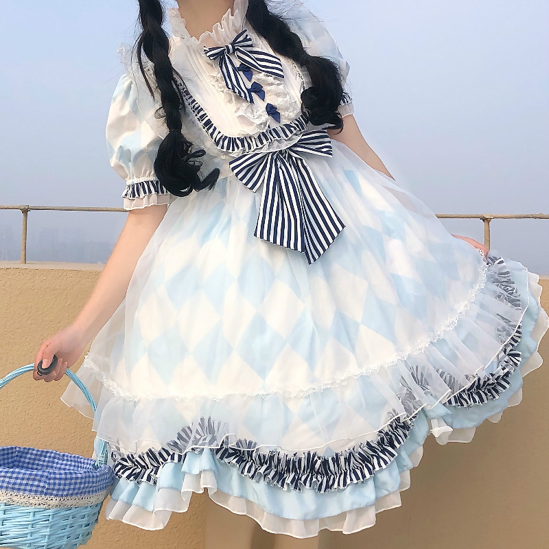 Verão japonês lolita vestido de empregada doce lolita vestido retro bowknot diário menina retro vitoriano vestido kawaii menina gótico jsk dres