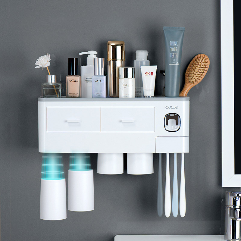Magnetic Adsorption Toothbrush Sanitizer Holder Automatic Toothpaste Dispenser Wall Mount Storage Rack Bathroom Accessories