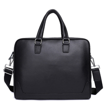 Business Men's Briefcases Men's Bag Genuine Leather Messenger Bags 14 15.6 inch Laptop Bag Leather Briefcase Office Bags for Men цена