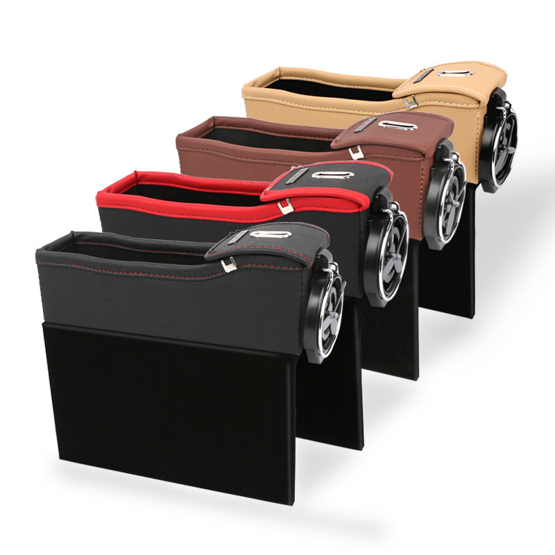 """Black 13.7/"""" * 4.3/"""" * 2/"""" with 1 Mini Duster SENHAI PU Leather Fill The Gap Seat Side Console Accessory Storage for Phone Keys Cards Coins Bills 2 Pack Universal Car Organizer Holder Pocket"""