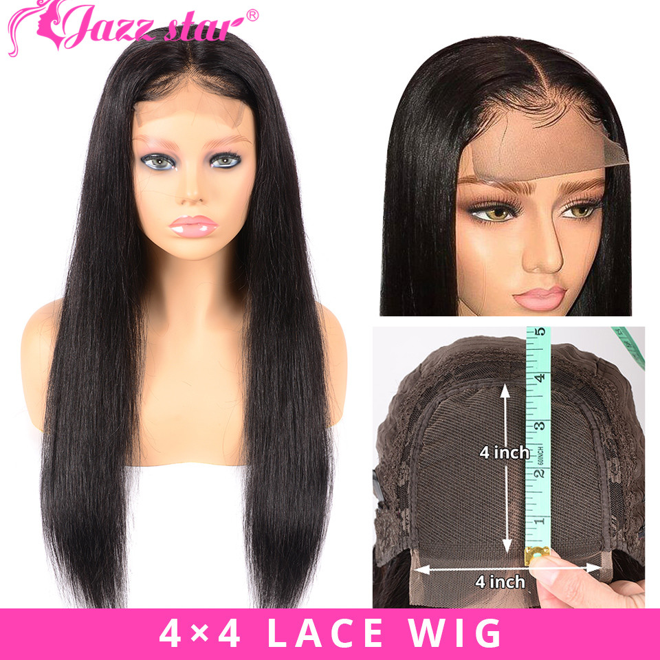 Brazilian 4*4 Lace Closure Wig Straight Human Hair Wigs For Black Women Non Remy Jazz Star Natural Color Lace Wig With Baby Hair