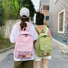 2019 new bag women's Korean high school campus backpack fashion casual breathable bag transparent fruit trend backpack schoolbag(China)