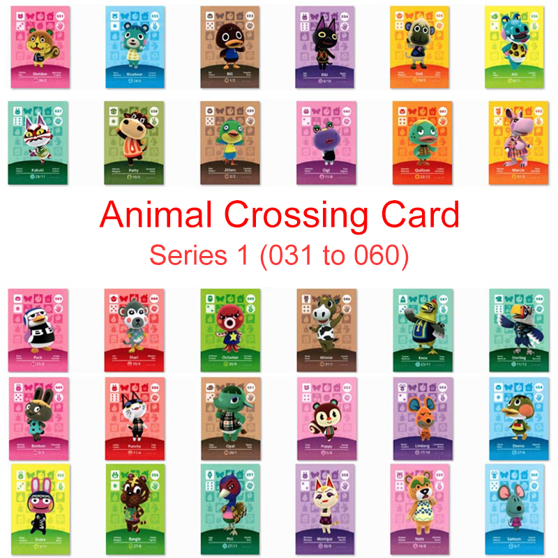 Series 1 (031 To 060) Animal Crossing Card Amiibo Card Work For NS 3DS Game Switch New Horizons Kiki Kabuki Punchy Villager Card