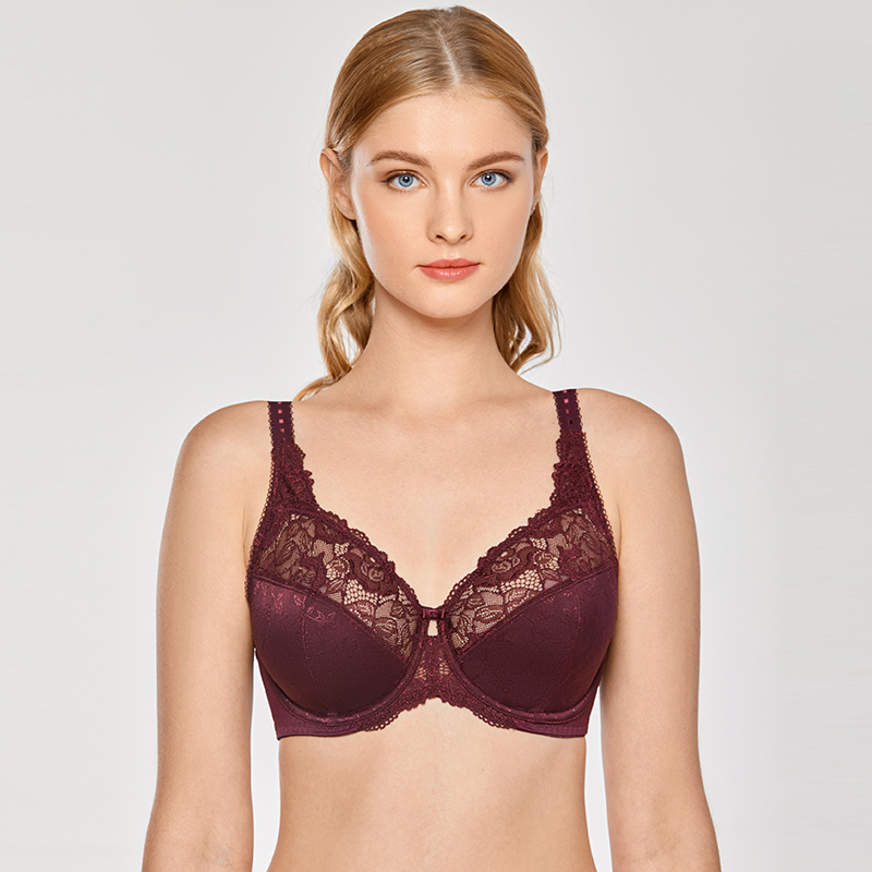 Women Floral Beauty Lace Non Padded Minimizer Full Figure Underwire Bra Comfort