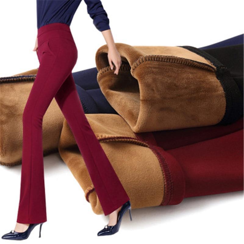 Sweat Pants Plus Velvet Women's Pants 2019 Winter Korean High Waist Was Thin Straight Thick Work Pants Bodybuilding Pants Women