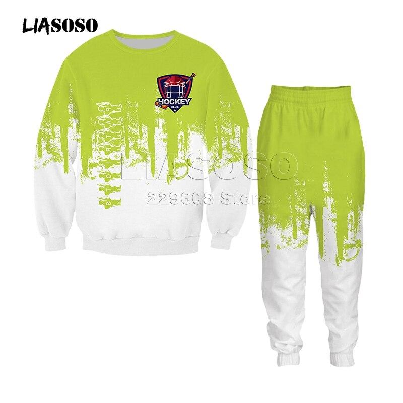 Men&women Fashion Clothing Set Sweatshirt+pants 2 Piece Tracksuits Hockey Uniform Print Suits Sport Wear Two-color Hip Hop Suit
