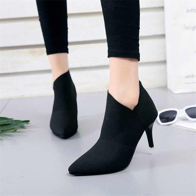 Xám Giày Cao Gót Bottines Gợi Cảm Màu Đen Đế Giày Bốt Nữ Thời Trang Mùa Thu Giày Thời Trang Phụ Nữ Bottines Pointues Femme