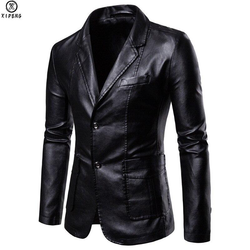 Cuir synthétique polyuréthane noir robe Blazers hommes 2019 marque nouvelle fête de mariage hommes costume veste décontracté Slim moto Faux cuir costume Homme