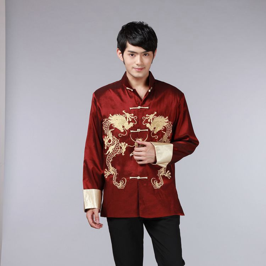 8 Color Chinese Shirt Traditional Chinese Clothing For Men Chinese Top Men Tang Suit Dragon Satin Long Sleeve Costume Retro