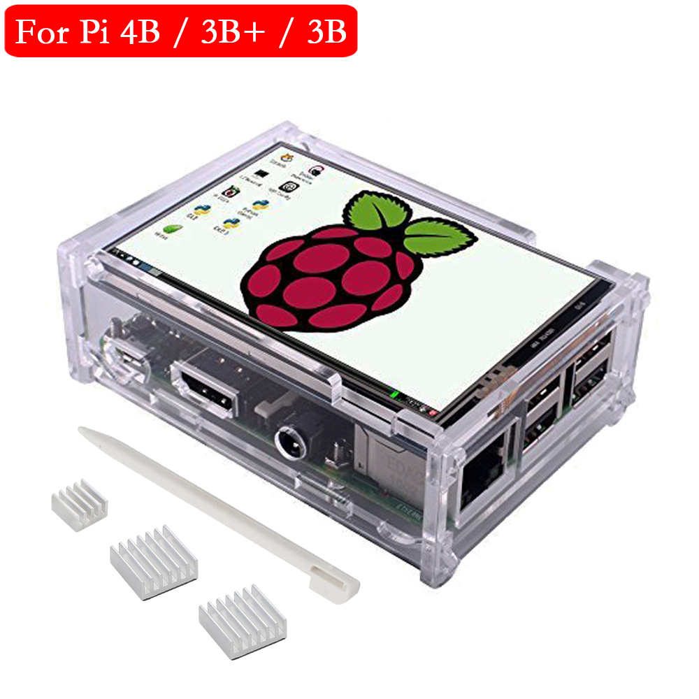 Raspberry Pi 4 Touch Screen 3.5 Inch TFT Display 480*320 LCD Monitor With Acrylic Case Aluminum Heat Sink For Raspberry Pi 3 3B+
