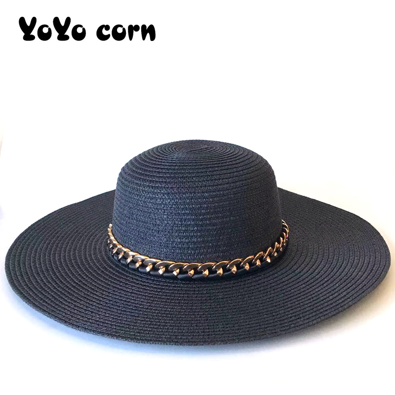 YOYOCORN Visor Wide Brim Femme Female Golden Chain Sun Cap Big Black Bow Summer Hats For Women Foldable Straw Beach Panama Hat