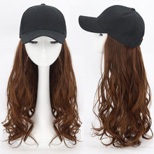 2020 Japanese and Korean style women's wig cap, net red wig long curl hair natural big wave baseball cap wig one fashion trend(China)