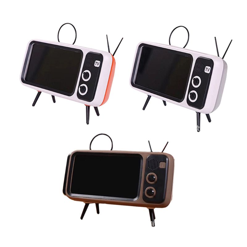 Retro TV Mobile Phone Screen Stand Cell Phone Mounts Holder For 4.7-5.5in Mini Waterproof Bluetooth Speaker Mobile Phone Screen