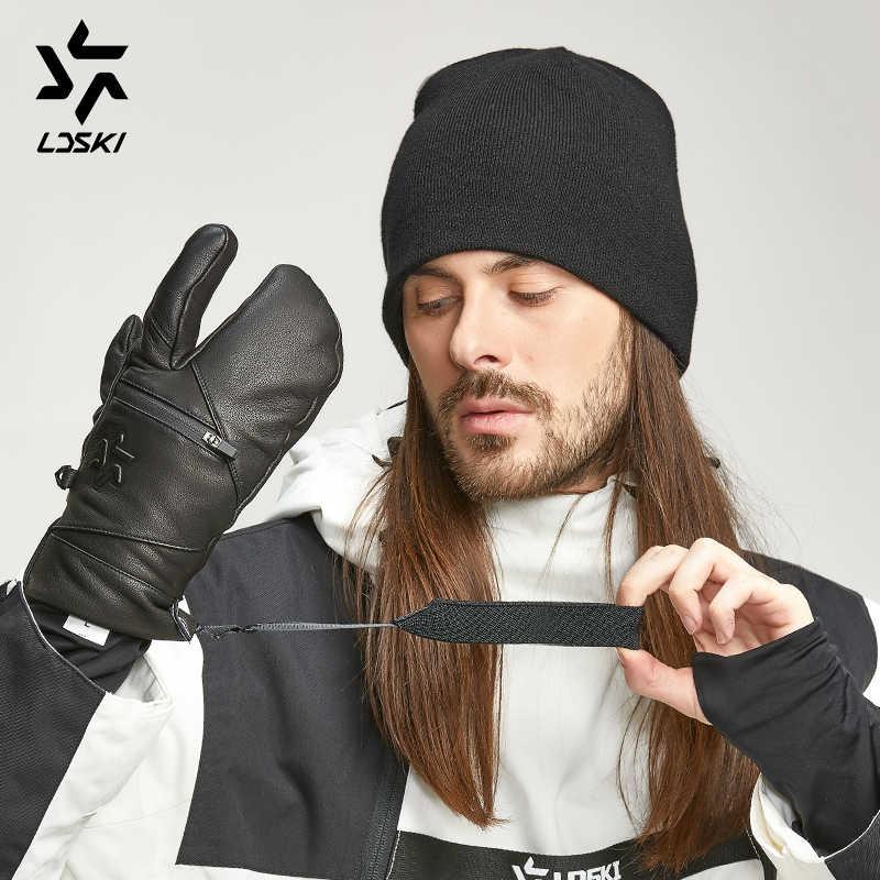 Keçi derisi deri kayak eldivenleri hafif LDSKI İzci kayak eldivenleri snowboard eldiveni başparmak parmak termal astar fermuarlı cep