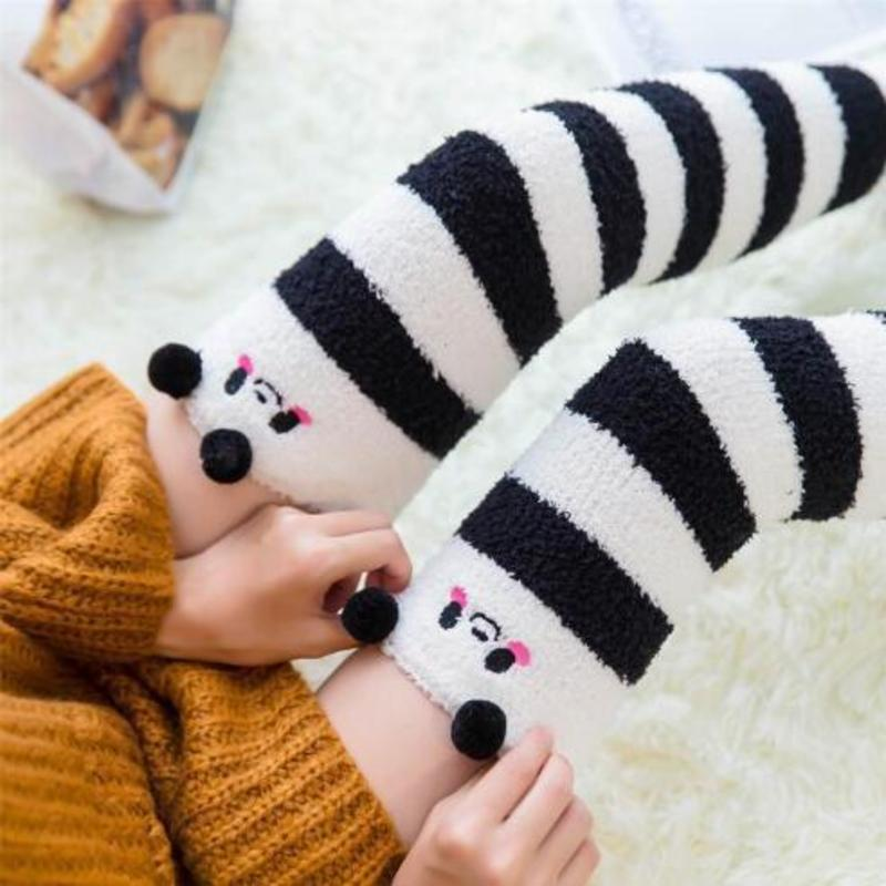 Sexy Cute Panda Women's Stockings Gaiters Striped Long Socks Thigh High Stockings Female Warm Over Knee Socks Women Stocking