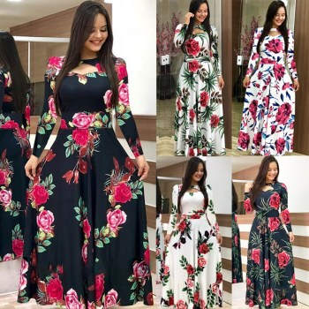 Elegant Spring Autumn Women Dress Casual Bohmia Flower Print Maxi Dresses Fashion Hollow Out Tunic Vestidos Dress Plus Size 1