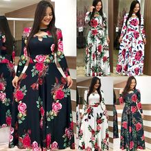 Elegante Lente Herfst Vrouwen Jurk 2019 Casual Bohmia Bloemenprint Maxi Jurken Fashion Hollow Out Tuniek Vestidos Jurk Plus Size(China)