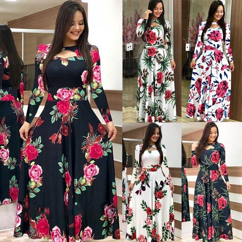 Elegante Frühling Herbst Frauen Kleid 2019 Casual Bohmia Blume Drucken Maxi Kleider Mode Aushöhlen Tunika Vestidos Kleid Plus Größe