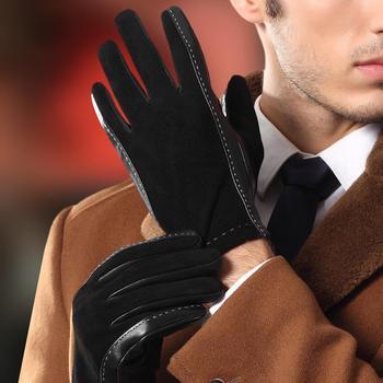 Black Man's Real Leather Gloves Autumn Winter Plus Velvet Thicken Warm Driving Suede Sheepskin Gloves Male TE9003 2020 new men genuine leather gloves male fashion trend autumn winter plush lined black suede sheepskin touch gloves 9006