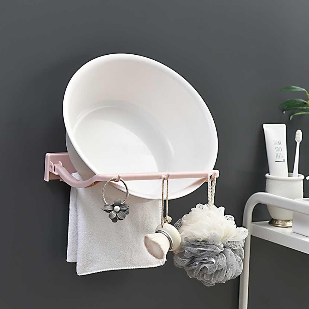 Bathroom Salle De Bain us $1.53 31% off|washbasin storage rack suction cup wall mount kitchen  bathroom towel hanger rangement salle de bain bath towel organizer  rack|storage