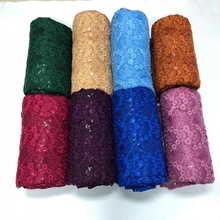 African Mesh Tulle High Quality French Lace Nigerian Net  Fabric With Sequins for Evening Party