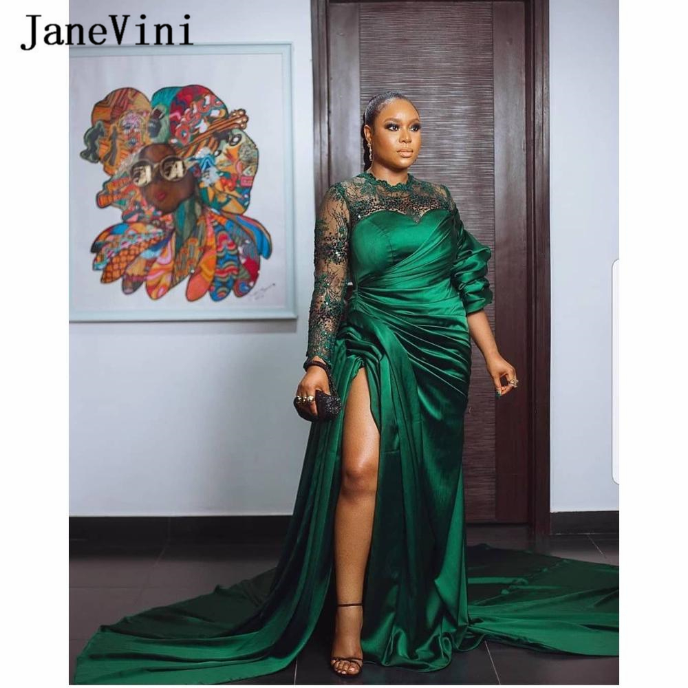 JaneVini 2020 Dubai Arabic Green Evening Dresses Long Sleeves Lace Sequined High Split A Line Satin Plus Size Women Party Gowns