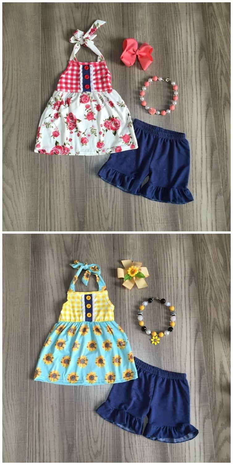 Baby Girls Summer Outfits Girls Floral Top With Navy Blue Capri Pants Kids Fashionable Outfit With Accessories