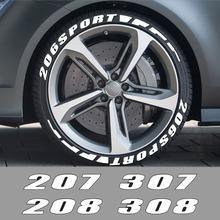 Para Peugeot 307, 206, 207, 208, 308, 407, 406, 408, 508, 301, 607, 107, 3008, 2008, 4008, 5008 3D neumático de caucho para coche cartas pegatinas Accesorios