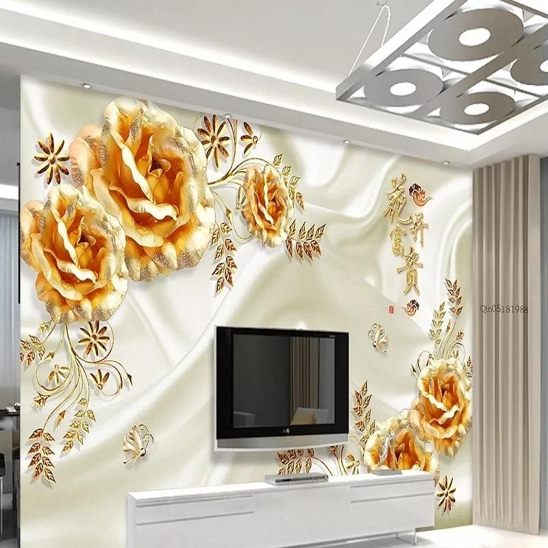 Custom Large Mural 3D Wallpaper Stylish Modern Luxury Chinese Style Golden Rose Milky White Bedroom TV Wall Decor 5D Embossed