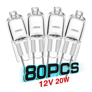 80 sztuk halogenowe G4 12V 20W lampa JC typ G4 żarówki halogenowe G4 podstawa czysta halogenowe wstawione koraliki lampy kryształowe tanie i dobre opinie TSLEEN CN (pochodzenie) ROHS EBB956 Halogen Lamps 2000h Ciepły biały (2700-3500 k) 12 v 2800K Indoor Handlowych Profesjonalne