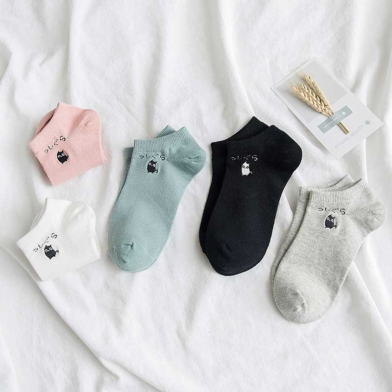 New Leisure Solid Color Cartoon Cat Short Sock Breathable Comfortable Cotton Sweat Women Short Sock Chaussettes
