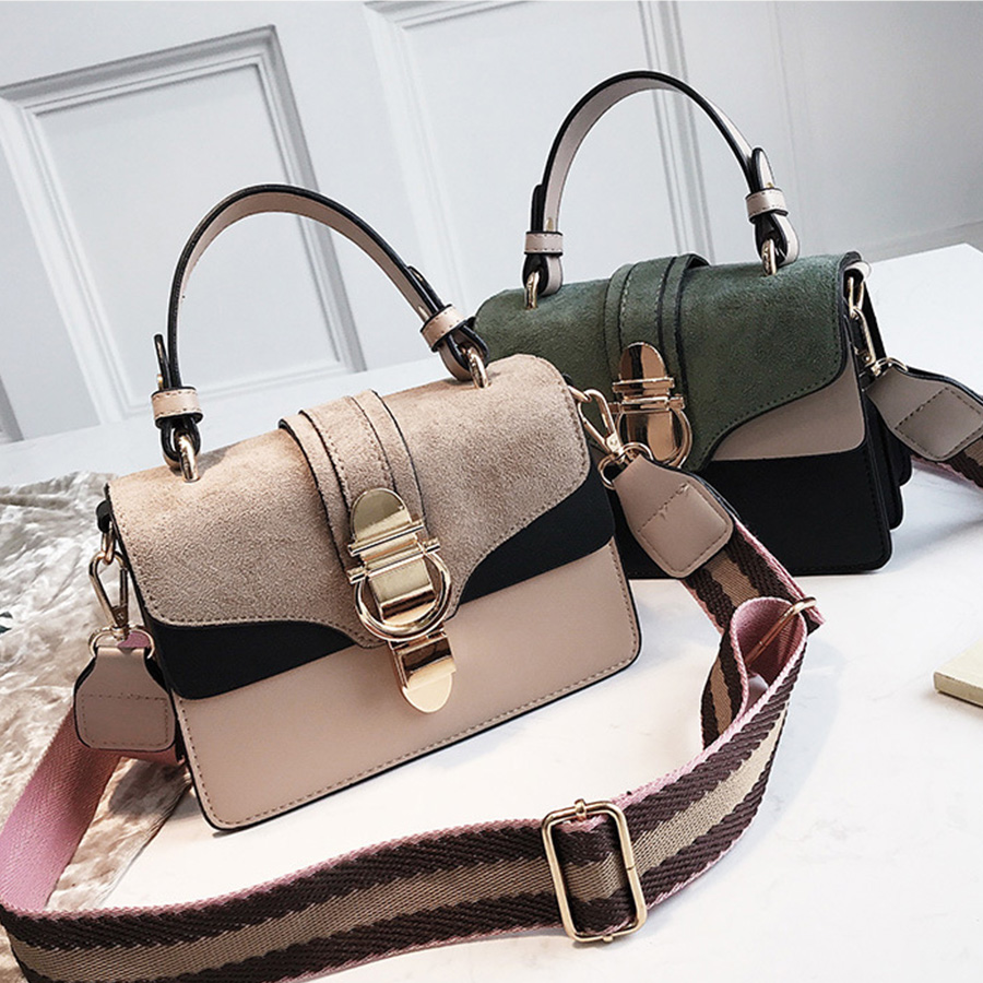 Scrub Shoulder Crossbody Bags For Women Bag 2019 Leather Handbags Panelled Small Flap Wide Shoulder Strap Crossbody Bags Bolsa
