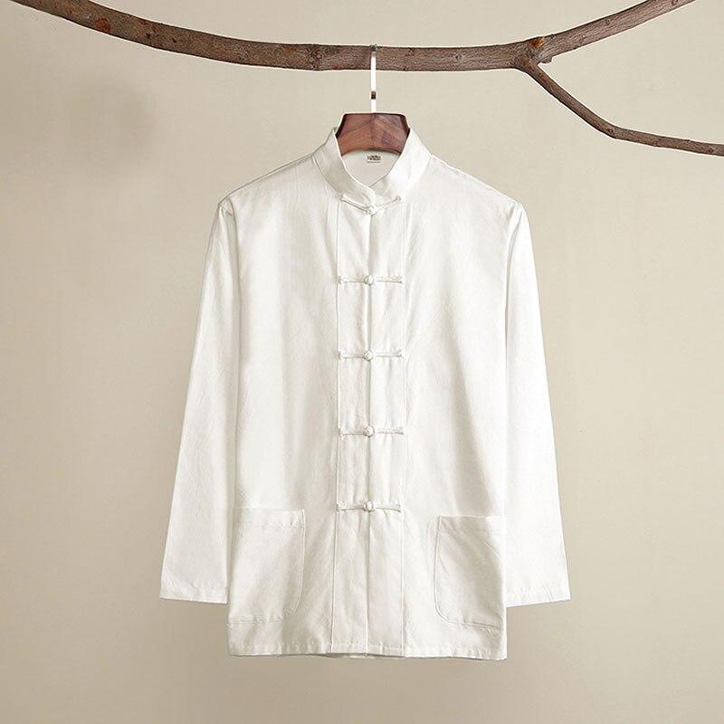 Мужской Хлопковый костюм Umorden, традиционный китайский костюм Тан, рубашка с длинным рукавом, рубашка-пальто для кунг-фу Тай-Чи, весна-осень