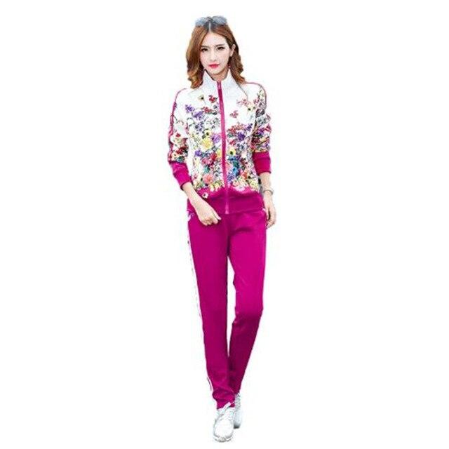 Più il Formato L 6XL Tuta A Due Pezzi Abiti Delle Donne Top A Manica Lunga e Pantaloni Lunghi di Modo di Autunno Stampa Floreale Delle Donne Set sportwear