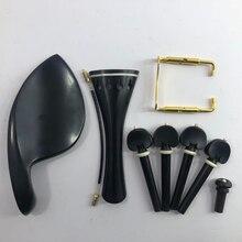 4 / 4 violin string shaft high grade ebony inlaid ox bone violin string buckle 4-piece set