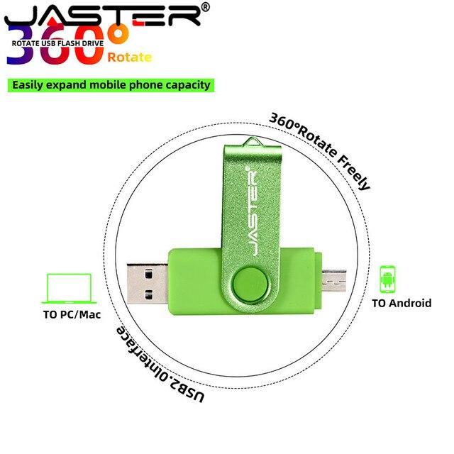 JASTER USB 2.0 OTG USB flash drive Smart Phone Tablet PC 4GB 8GB 16GB 32GB 64GB  Pendrives OTG Real Capacity Usb stick 4