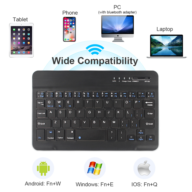Mini Wireless Keyboard Bluetooth Keyboard For ipad Phone Tablet Russian Spainish Rechargeable keyboard For Android ios Windows 6