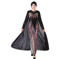 イスラム教徒のパーティードレスと岬女性高品質アバヤスパンコール刺繍ヒジャーブドレス長袖ドバイカフタンローブイスラムドレス