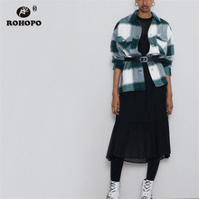 ROHOPOLong Sleeve Turn Down Collar Tartan Big Buttons Pockets Thickness Green Blouse Side Pocket Vintage Female Outwwear #2317