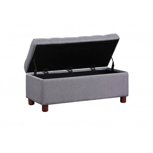 【USA in Stock】39'' Storage Bench Tufted Linen Fabric Ottoman Storage Bench Grey , free dropshipping  out door furniture 4